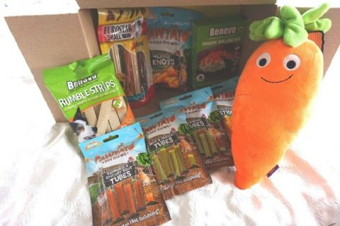 ULTIMATE VEGAN DOG EASTER HAMPER FILLED WITH VEGAN VEGETARIAN DOG TREATS AND TOY